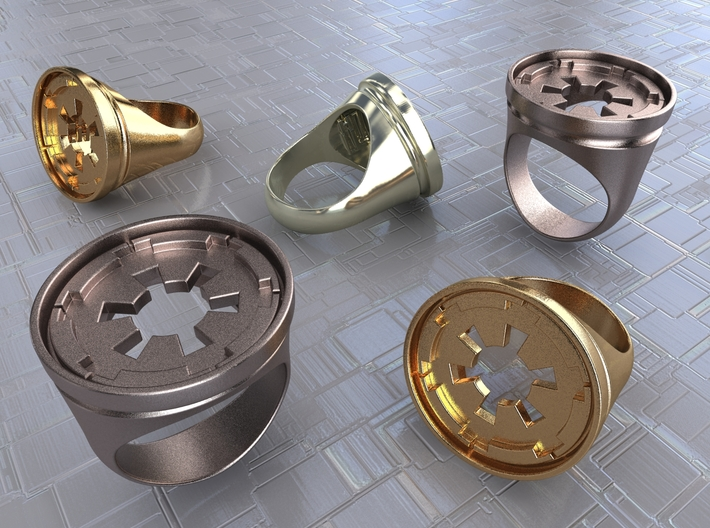 Empire Seal Ring 3d printed Stainless Steel, Gold Plated Matte & Premium Silver renders.