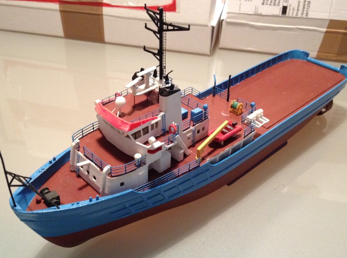 MV Anticosti, Details 1/2 (1:200, RC ship) 3d printed photo of assembled model (painted)