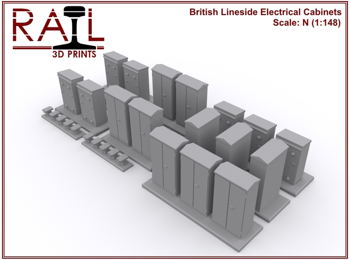 N Scale Lineside Electrical Cabinets 3d printed Render of the Electrical Cabinets pack.