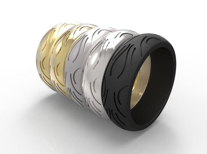 Motorcycle Low Profile Tire Tread Ring Size 8 3d printed Render of available materials