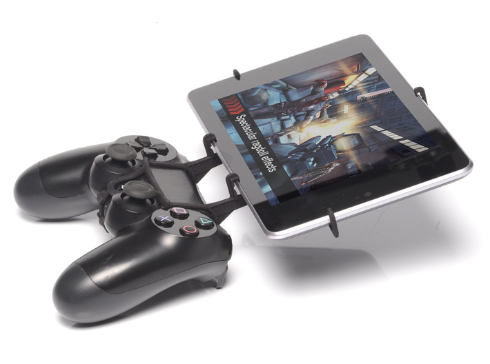 Controller mount for PS4 & Sony Xperia Z4 Tablet W 3d printed Side View - A Nexus 7 and a black PS4 controller