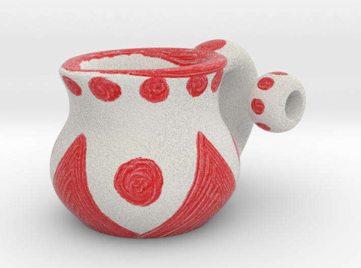 Naive Pitcher Pendant with beads - Red Triangles 3d printed