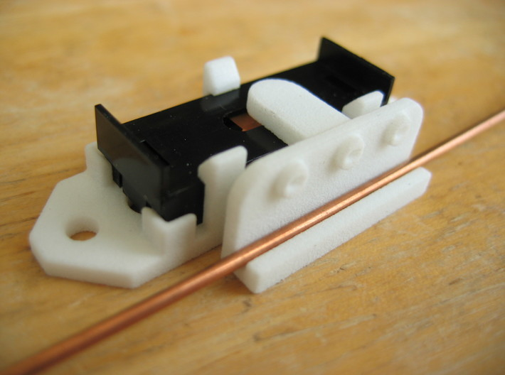 """Railroad switch / point actuator for PECO PL-13 3d printed The 1/6"""" dia welding rod I use for point 'rodding' is a good fit in the Slider/Arm part."""