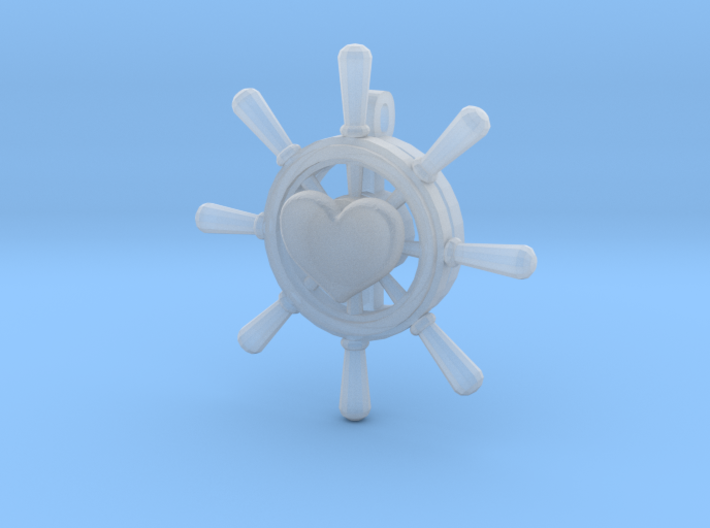 Heart Is True Ship Wheel Pendant 3d printed
