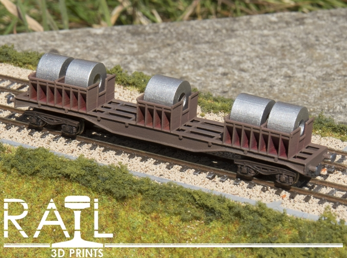 BLA Steel Coil Wagon 3d printed Painted 3D print with bogies and wheels.