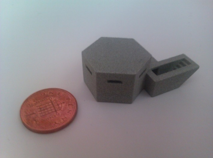 Clyne Valley Type 22 Bunker 3d printed Printed in Alumide next to 1 penny coin