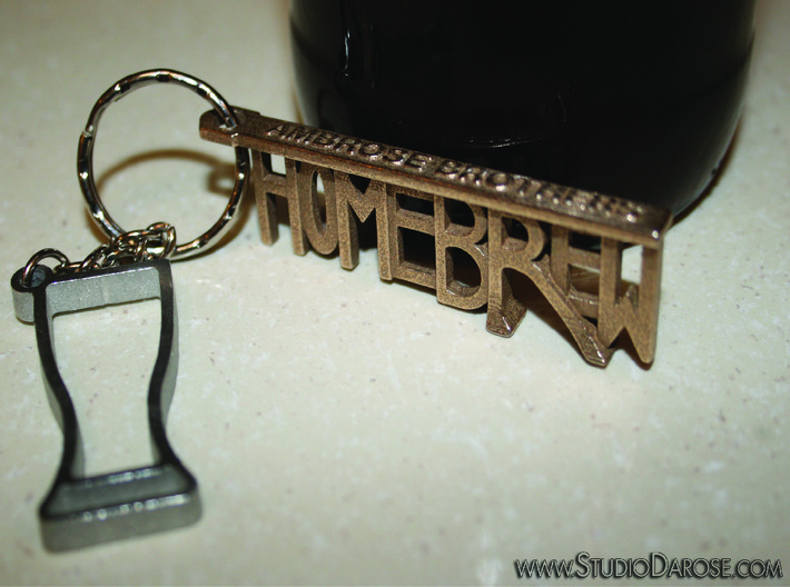 """HOMEBREW"" Bottle Opener Keychain - Customizable 3d printed In Stainless Steel. The ""R"" is the opener."
