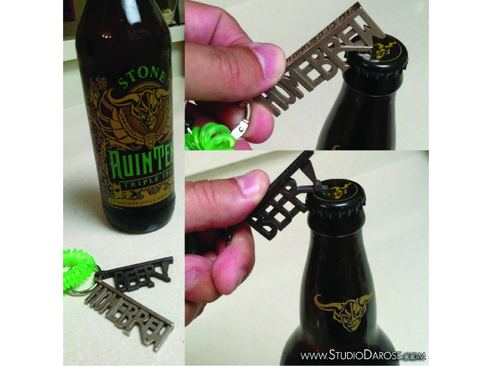 """BEER!"" Bottle Opener KeyChain - Customizable 3d printed Check out our other options too!"