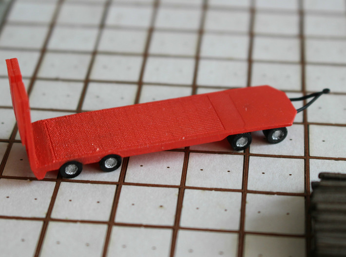 N Scale Construction Equipment Trailer 3d printed Trailer, painted, in Frosted Ultra Detail.
