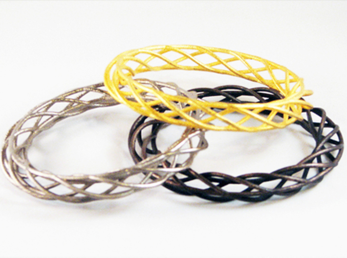 Twist Bangle A01L 3d printed Stainless Steel