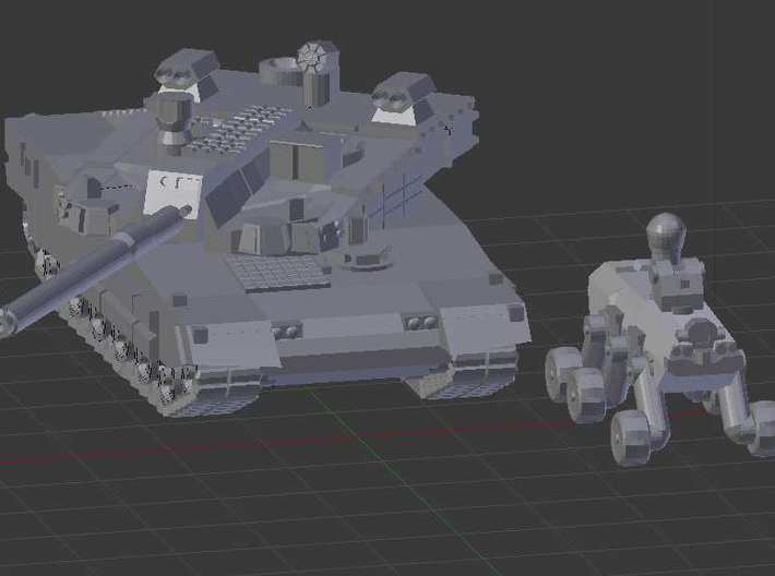 "1/300 South Korean K2 ""Black Panther"" Tank 3d printed A render of the K2 and its robot scout vehicle"
