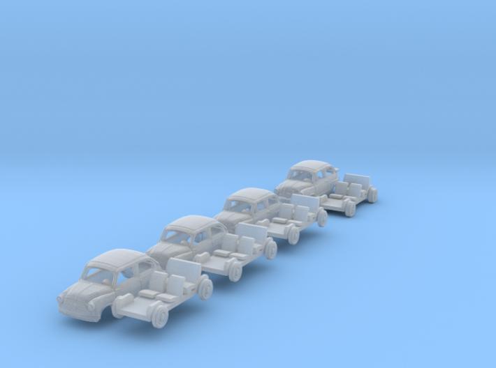 SET 4x Fiat 600 (TT 1:120) 3d printed