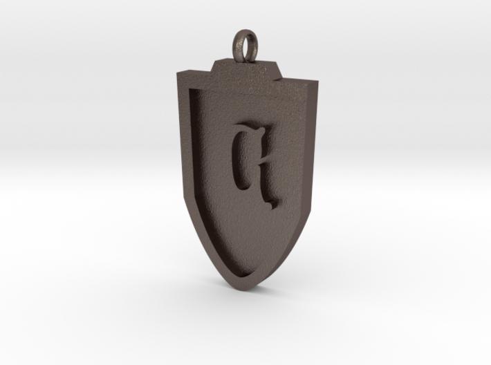 Medieval C Shield Pendant 3d printed