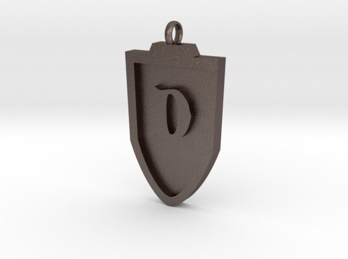 Medieval D Shield Pendant 3d printed