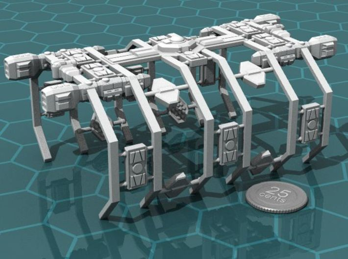 Space Dock 3d printed Render of the model, with a virtual quarter for scale.