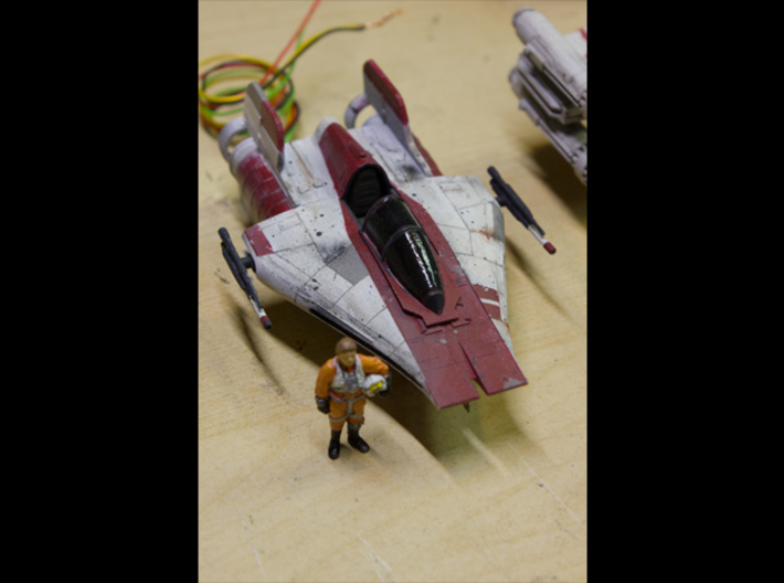 A-Wing 1/72 scale 3d printed Canopy open w/ finemolds rebel pilot