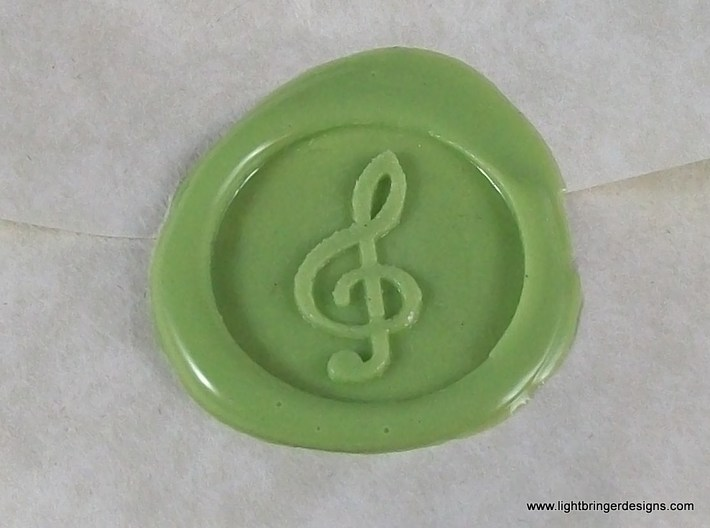 Treble Clef Wax Seal 3d printed This is what the impression will look like.