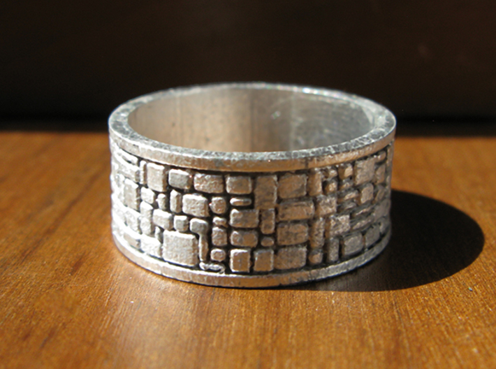 Cobble Stone Ring 3d printed This is the Frosted Ultra Detail material, painted and stained to look like raw silver.
