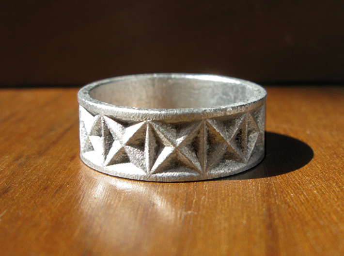 Gothic Star Geometry Ring 3d printed This is Frosted Ultra Detail, painted and stained to look like raw silver.