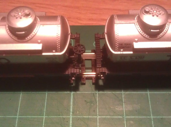 N Scale 8mm Fixed Coupling Drawbar x6 3d printed (12mm Coupling Used In Photo)