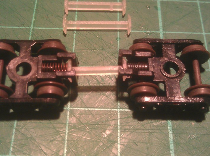 N Scale 11mm Fixed Coupling Drawbar x6 3d printed (12mm Coupling Used In Photo)