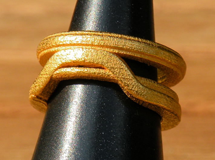 Balem's Ring1 - US-Size 3 1/2 (14.45 mm) 3d printed Ring 1 in polished gold steel (shown: size 6 1/2)