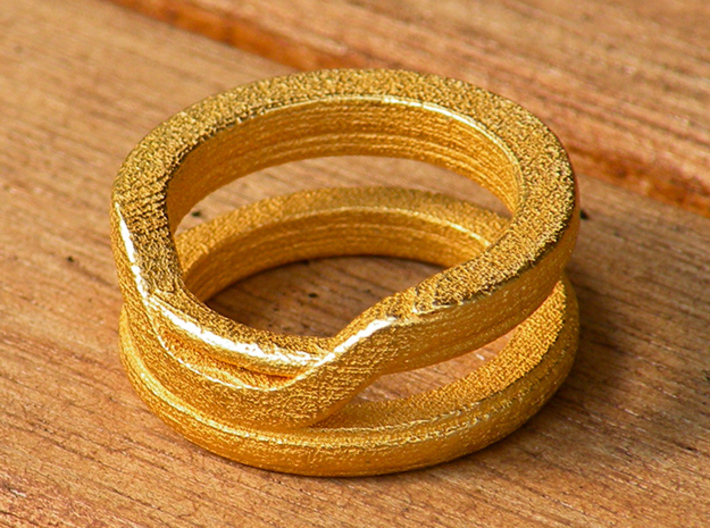 Balem's Ring1 - US-Size 7 1/2 (17.75 mm) 3d printed Ring 1 in polished gold steel (shown: size 6 1/2)
