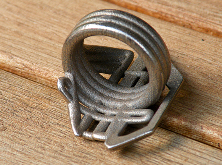 Balem's Ring2 - US-Size 12 (21.49 mm) 3d printed Ring 2 in stainless steel (shown: size 13)