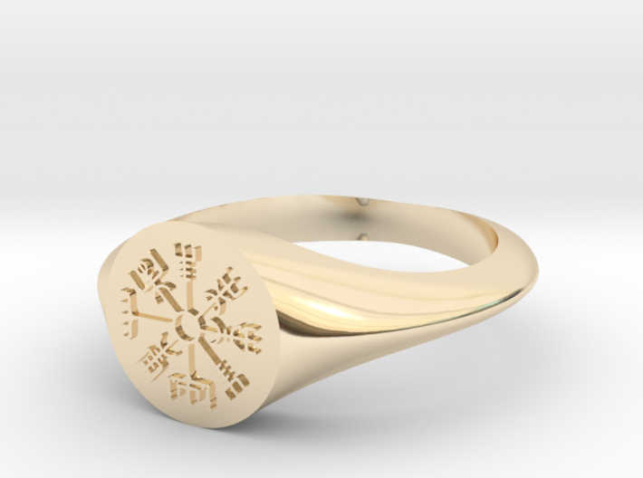 Icelandic Compass Signet Ring 3d printed