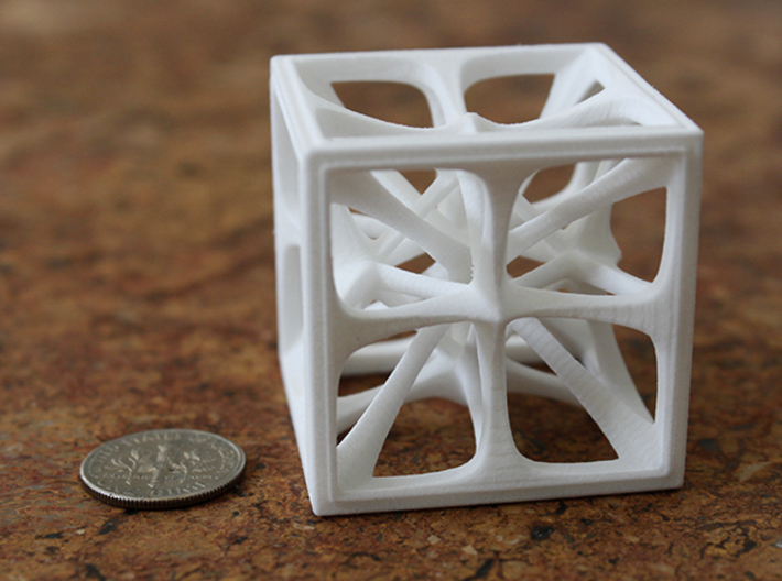 Hexahedron 3d printed Hexahedron Medium in White Strong & Flexible Polished