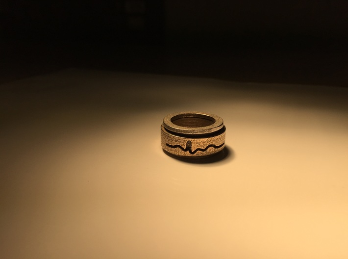 ECG spinner ring (outer ring part 2 of 3) 3d printed Real life photo of ecg ring assembled in stainless steel