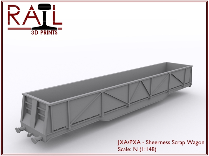N Scale - JXA/PXA Sheerness Scrap Wagon 3d printed Render of the JXA Scrap Wagon.