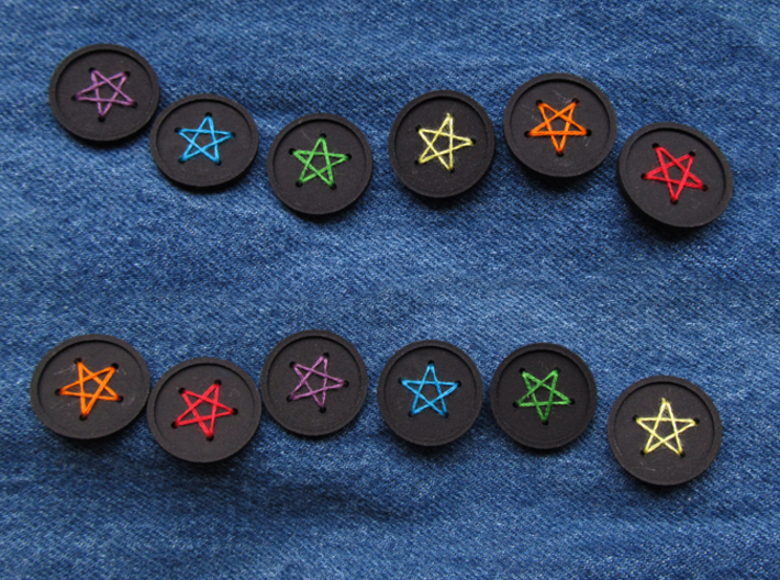 "1"" five-holed buttons (dozen) 3d printed printed in black S+F"