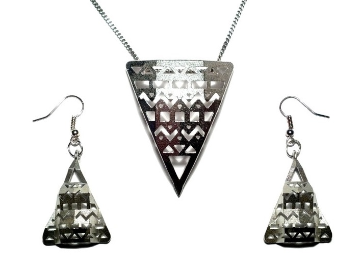 Aztec Pendant 3d printed Aztec Pendant + Earrings in Raw Silver