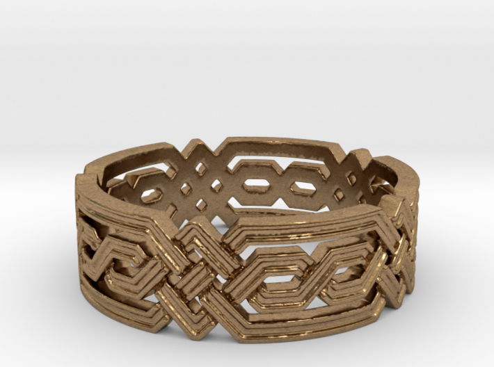 Fantasy Geometric Knot Ring 3d printed