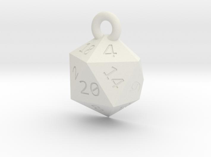 Cut D20 Keychain 3d printed
