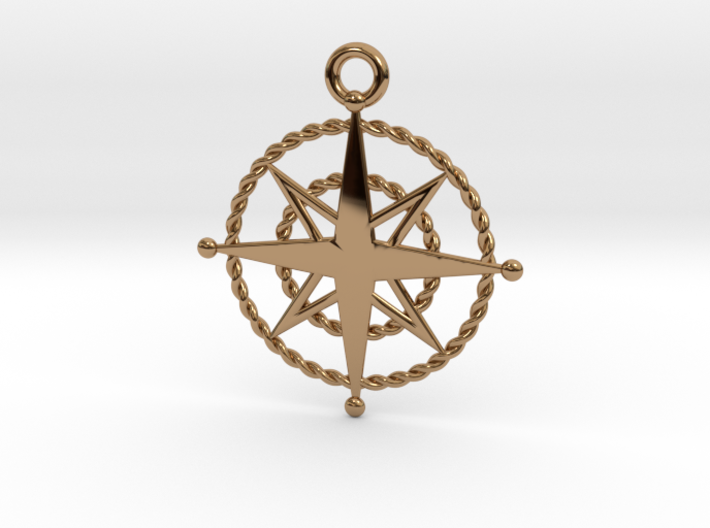 Compass Rose Keychain 3d printed