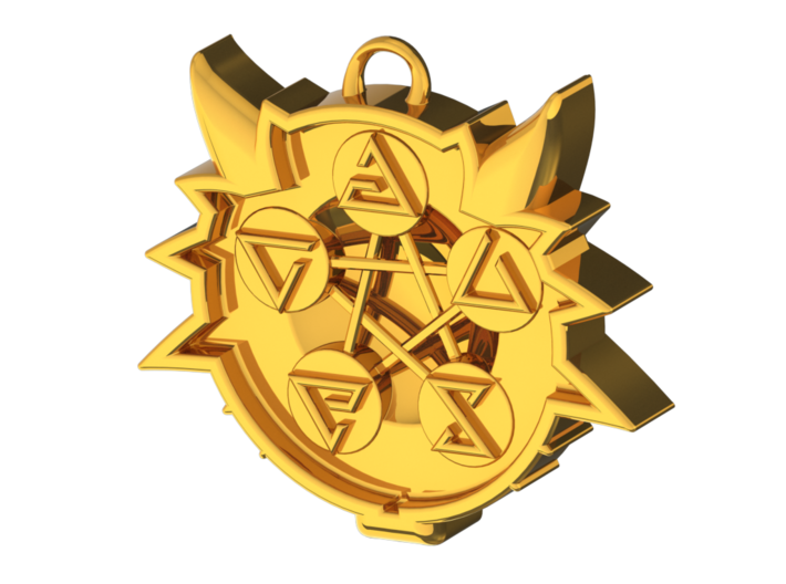 Two Sided Wolf Head Medallion Pendant 3d printed Polished Gold Back