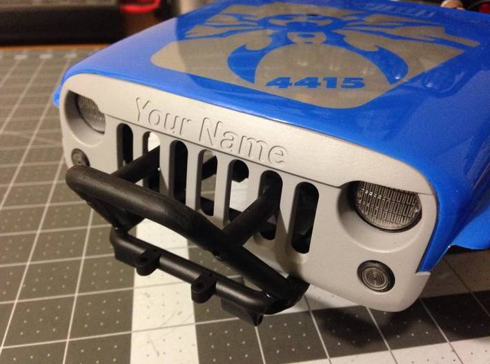 AJ40005 ANGRY eye grill CUSTOM 3d printed Grill shown fitted to the Wraith Jeep. This Grill will fit all Knight Customs Jeep grill mounts.