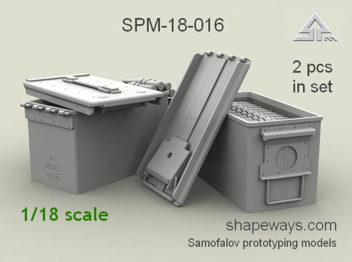 1/18 SPM-18-016 cal.50 ammobox opened 3d printed