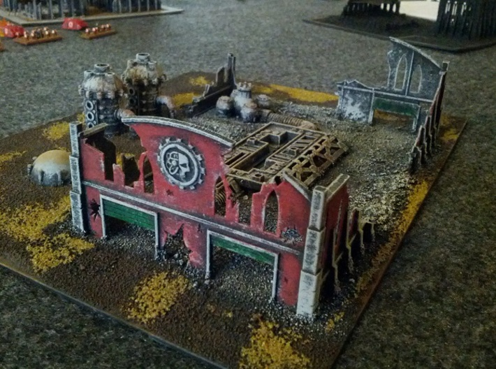 6mm Factory Ruins 3d printed Painted example in White, Strong, and Flexible (not all items pictured are part of model)