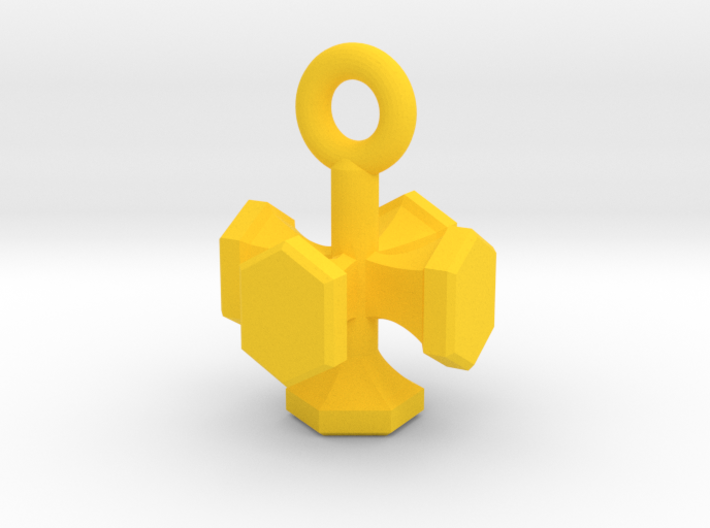 Shield Hexagon Charm Keychain 3d printed
