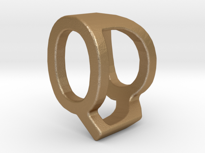 Two way letter pendant - DQ QD 3d printed