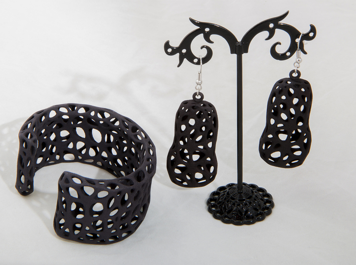 Cells Earrings  3d printed Printed in Black Strong & Flexible Plastic with cuff