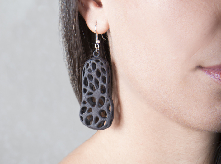 Cells Earrings 3d printed Printed in Black Strong & Flexible Plastic