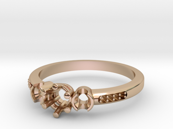 3 Stone Bezel Engagement Ring 3d printed