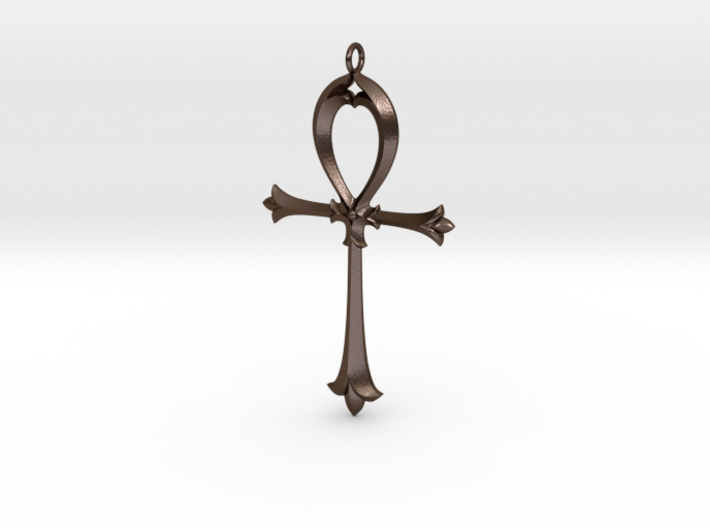 Ankh Nouveau 3d printed Nouveau Ankh in Polished Bronze Steel