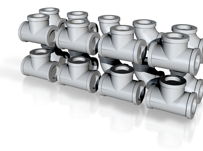 """7/8"""" scale pipe fittings: 2"""" pipe 3d printed"""