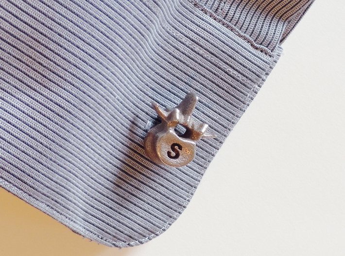 Lumbar Vertebra Cufflinks - Uninscribed 3d printed *note these do not come with inscriptions - send me a message BEFORE PURCHASING to request inscribed ones