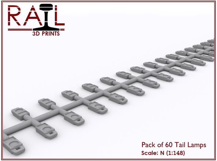 N Scale Tail Lamps - Sprue of 60 3d printed